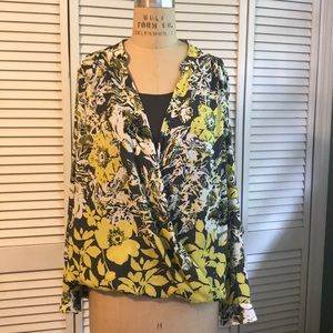 Wrap blouse with built in tank